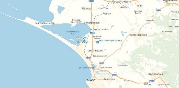 Витязево на карте