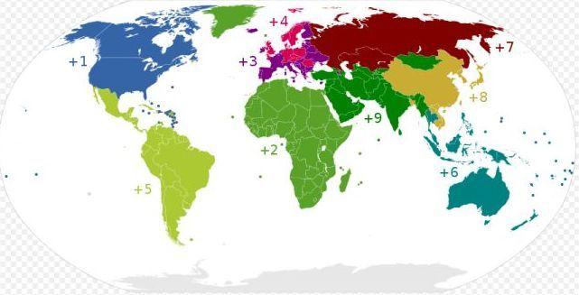 Коды планеты с первой цифрой кода стран