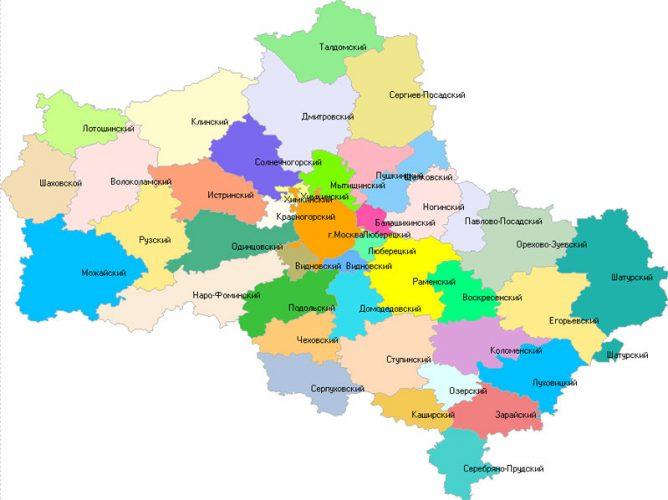 Карта районов Московской области