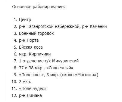 Районы Ейска