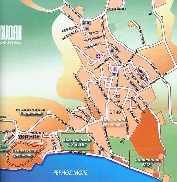 Схема города Судак