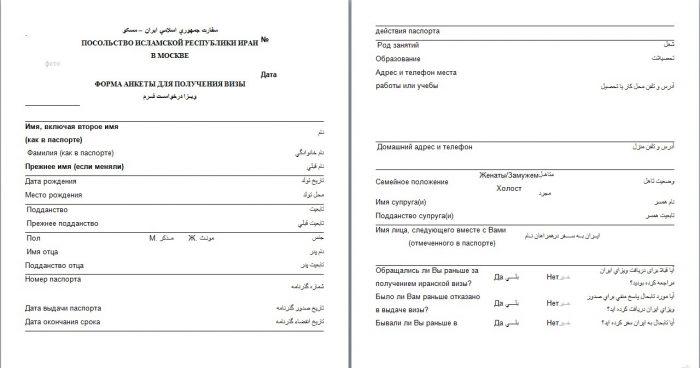 Анкета на визу, стр. 1-2