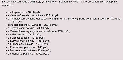 Размер МРОТ в Красноярском крае