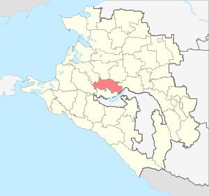 Расположение Динского района на карте Краснодарского края