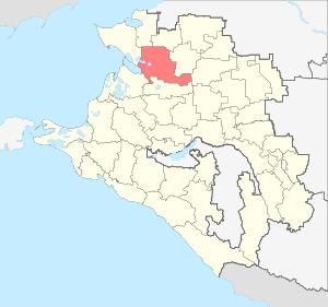 Расположение Каневского района на карте Краснодарского края