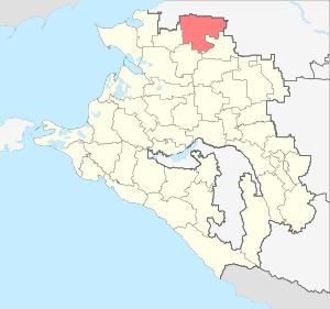 Расположение Кущевского района на карте Краснодарского края