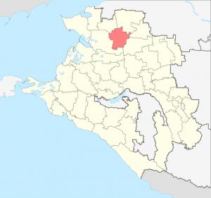 Расположение Ленинградского района на карте Краснодарского края