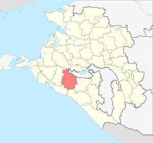 Расположение Северского района на карте Краснодарского края