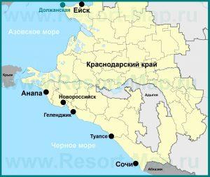 Расположение станицы Должанская на карте Краснодарского края
