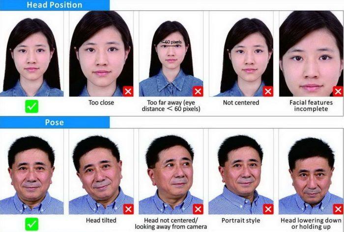 Требования к расположению лица для фото на визу