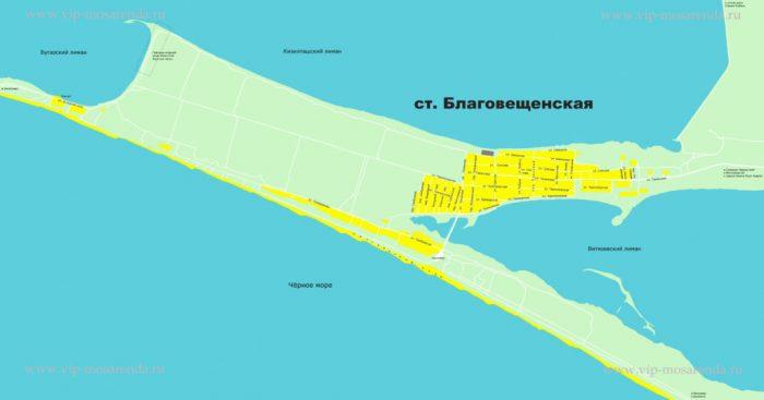 Карта станицы Благовещенская