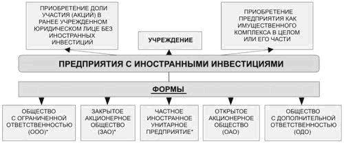 Схема организации предприятий с иностранными инвестициями в России