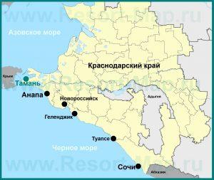Расположение станицы Тамань на карте Краснодарского края