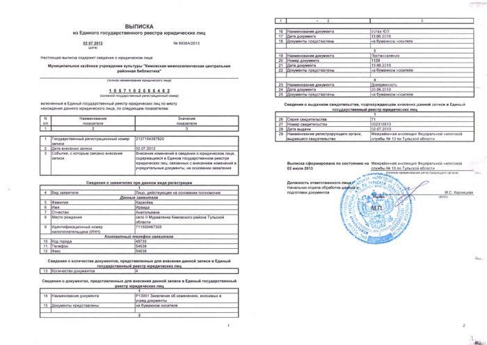 Выписка ЕГРЮЛ c печатью налоговой