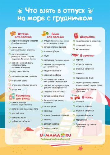 Список вещей необходимых для путешествия с маленьким ребенком