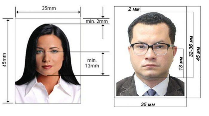 Образец фотографии на визу
