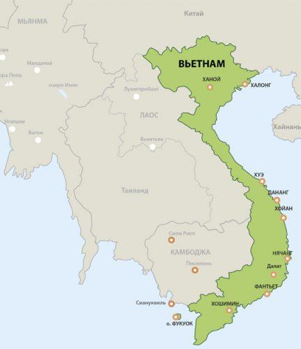 Карта Вьетнама.