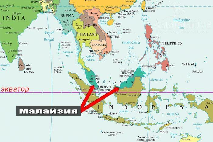 Малазия на карте