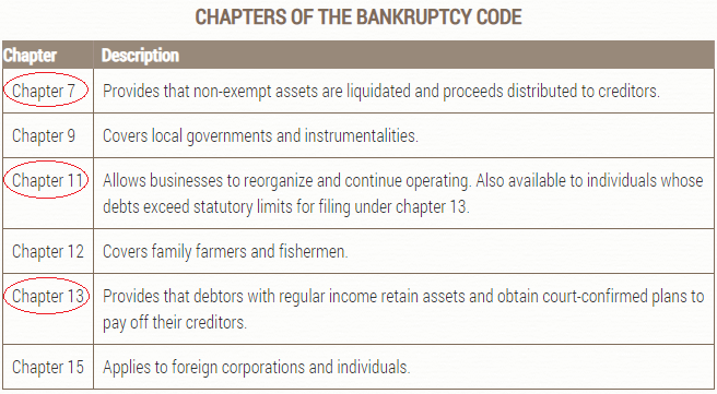 Варианты банкротства в США