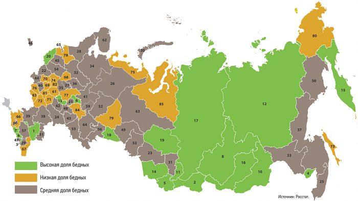 Доля бедных по регионам России