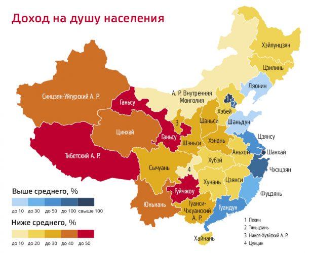 Доход на душу населения по регионам Китая