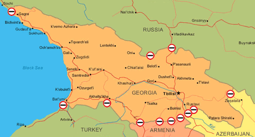 Пункты пропуска на границе Грузии