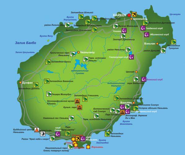 Карта острова Хайнань