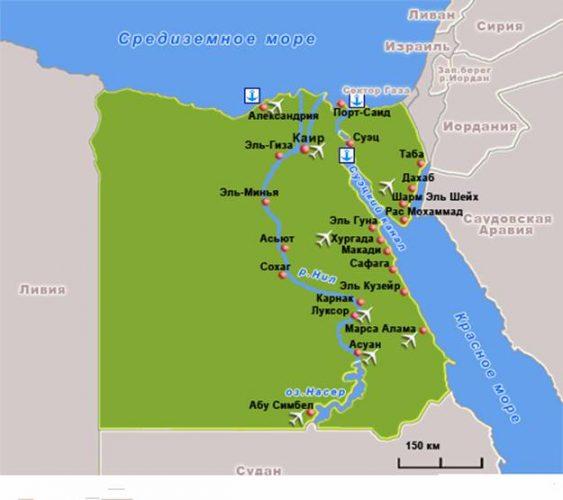 Расположение Египта на карте