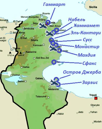 Карта популярных курортов Туниса