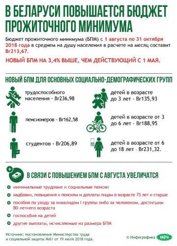 Бюджет прожиточного минимума Беларуси в 2018 году