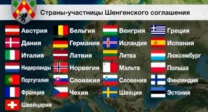 Список стран - участниц Шенгенского соглашения