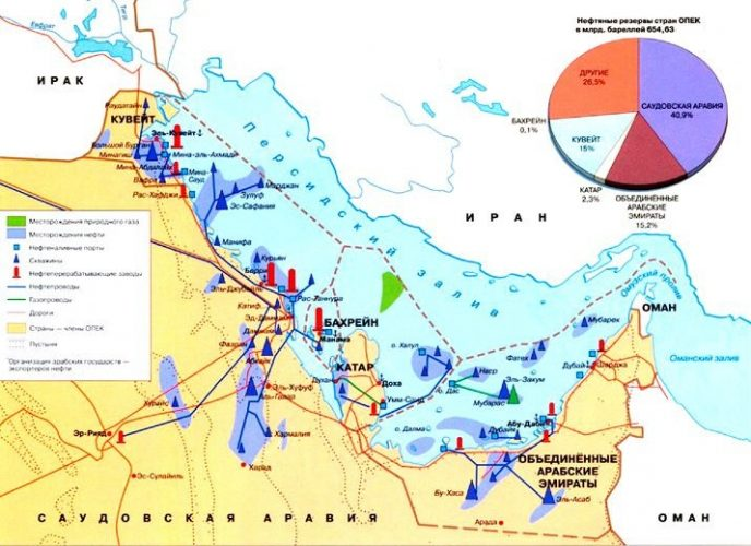 Страны Персидского залива на карте