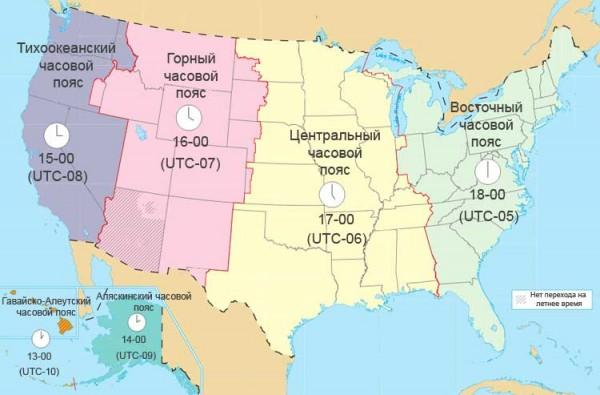 Часовые пояса в США
