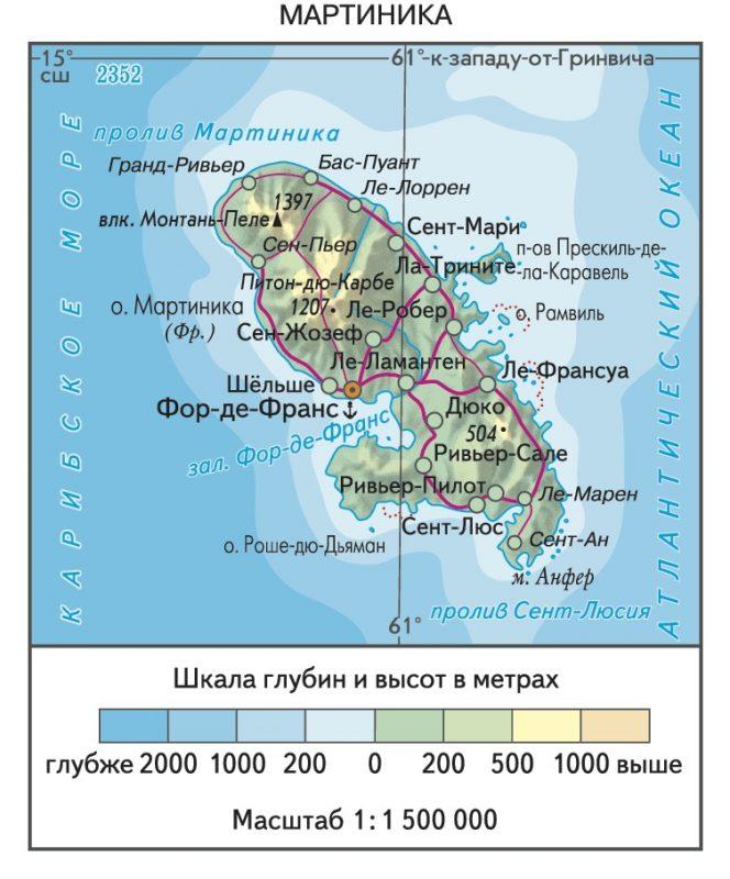 Мартиника на карте