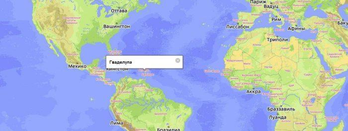 Гваделупа на карте