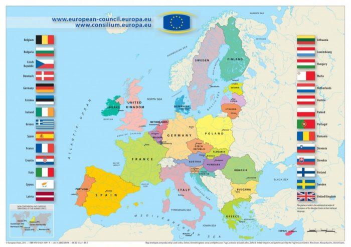 Карта Европейского Союза на 2016 год