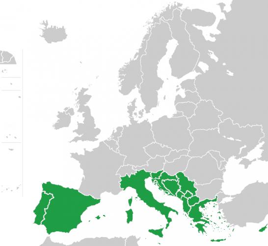Расположение стран Южной Европы на карте