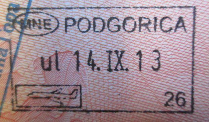 Въездной штамп Черногории