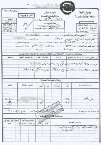 Образец египетской таможенной декларации
