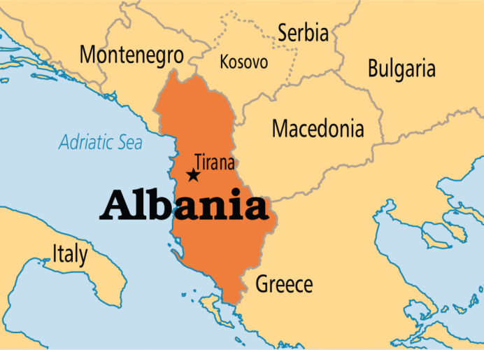 На карте Албания, Болгария, Греция, Македония, Сербия