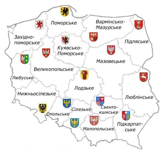 Карта воеводств в Польше