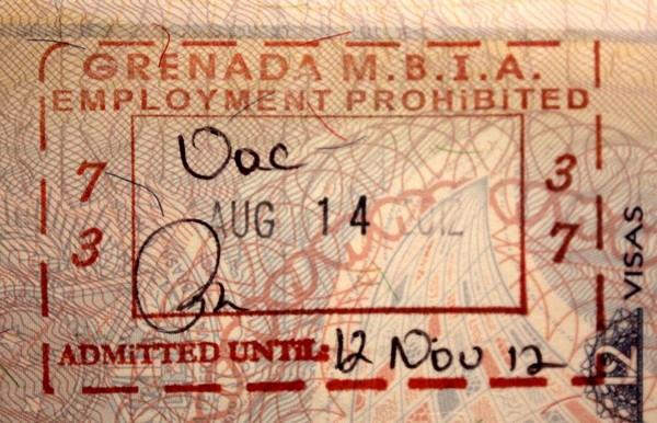 Штамп Гренады в загранпаспорте