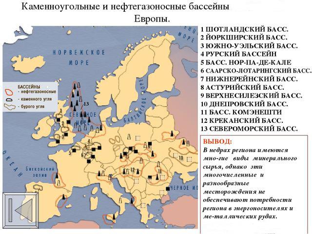 Камнеугольные и нефтегазоносные бассейны Европы