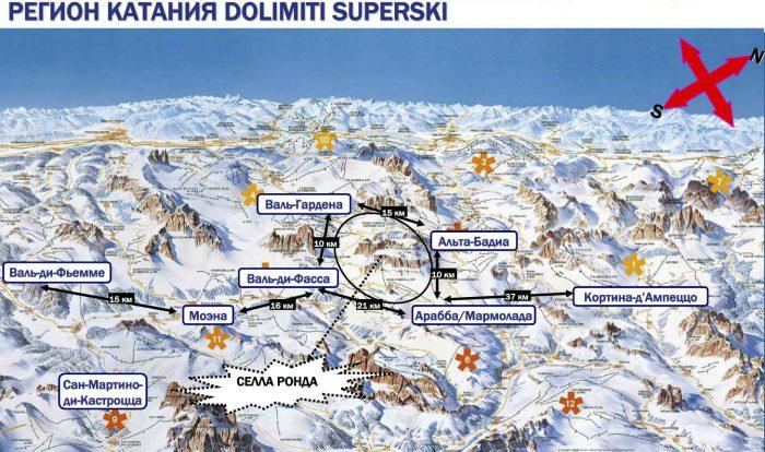 Карта Доломитовые Альпы в Италии