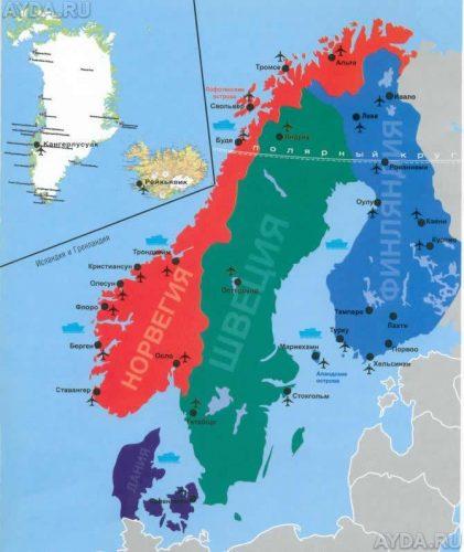 Скандинавские страны на карте