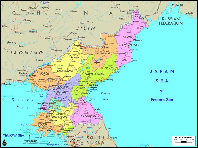 Карта Северной Кореи