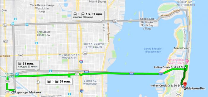 Как добраться из аэропорта до Майами-Бич