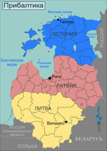 Страны Прибалтики на карте