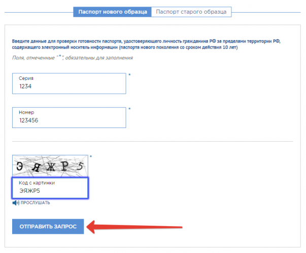 Проверка готовности загранпаспорта на сайте ГУВМ МВД РФ