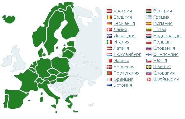Страны входящие в шенгенскую зону в 2018 году